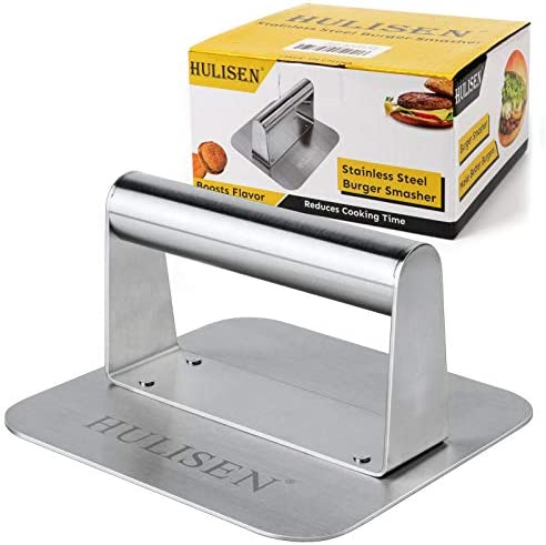 HULISEN Stainless Steel Burger Press 5 5 Inch Square Burger Smasher Professional Griddle Accessories product image