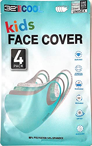 32 Degrees Cool Kids Unisex Face Mask Cover 4-Pack | Durable, Stretch, Washable, UPF 50+ | 86% Polyester, 14% Spandex (Mint / Med Grey / Emerald Tie Dye / HT. White)
