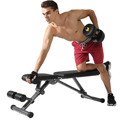 HAOYF Multifunktionale Hantelbank, zusammenklappbar, Sitzhocker, Sit-Up-Trainingsstuhl, Fitnessgerät, Fitness-Stuhl, Bauchtrainingsgerät (Farbe: Schwarz, Größe: 46 x 120 x 45 cm)