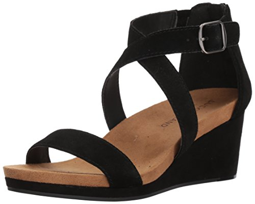 Lucky Brand Kenadee Sandales compensées pour femme - Noir - Noir, 39.5 EU