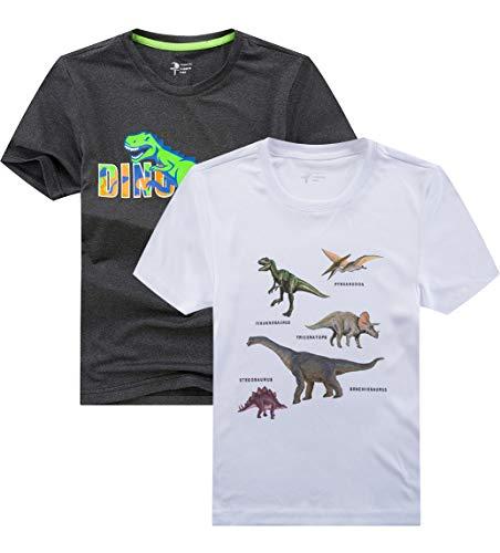 YoungSoul T-Shirt Jungen Dinosaurier Schnelltrocknend Kinder Sportshirt Sommer Kurzarm Tops 2er Pack Dunkelgrau weiß 122-128