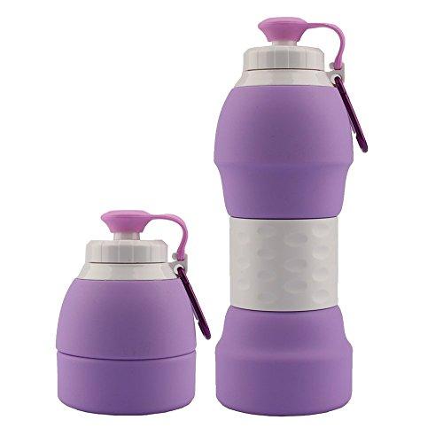 Molight Bouteille d'eau pliable en silicone – Bouteilles pliables en plein air avec mousqueton de poche sans BPA – 567 g (violet)