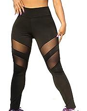 yayay Yogabyxor för kvinnor, mesh lappverk leggings elastisk höftlyftande långa byxor