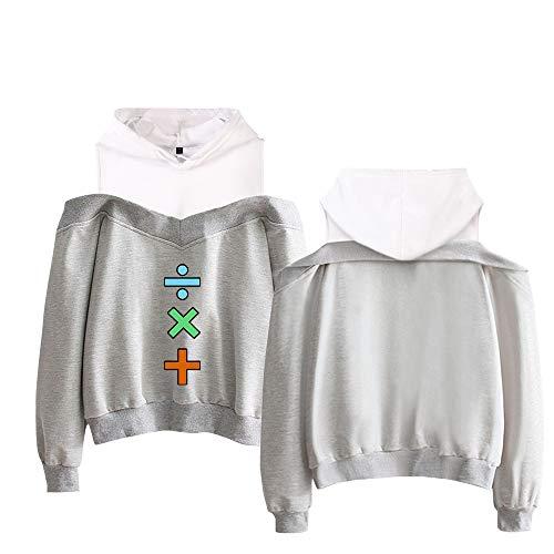 Sadsfekgl Ed Sheeran Pullover Sudaderas con Capucha de Las Mujeres de la Camiseta de la Ropa de Moda de diseño de Moda Fuera del Hombro suéter Elegante Unisex (Color : Grey03, Size : S)