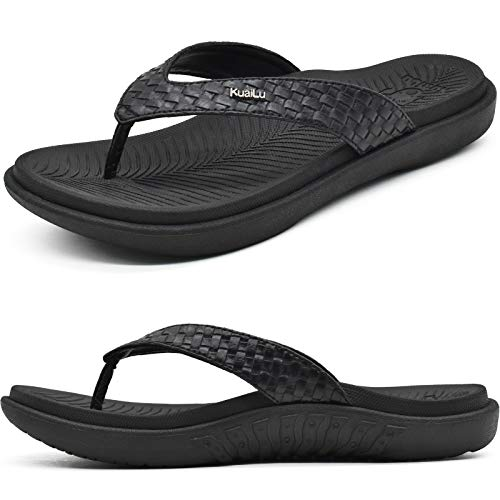 KuaiLu Negro Chanclas Mujer Verano Playa Sandalias de piscina Apoyo de Arco Ortopedicas Chanclas Zapatos Cómodos para Caminar Antideslizante Talla 37EU