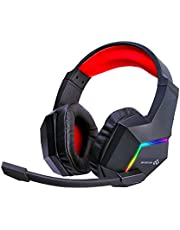 Infurture Gaming Headset for PS5 PS4 PC Xbox one,Noise Cancelling Over Ear Kids Headphones with Mic,RGB Light,Bass Surround Gaming Headphones,Soft Memory Earmuffs,Computer Headset for Laptop Switch