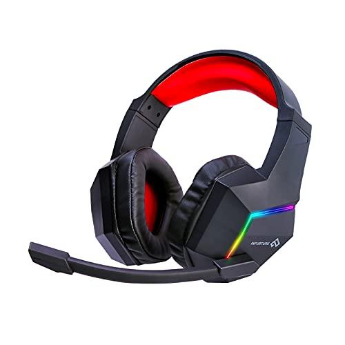Infurture Gaming Headset para PS5 PS4 PC Xbox one,Cancelación de ruido sobre la oreja auriculares con micrófono, luz RGB, auriculares para juegos de bajo envolvente, orejeras de memoria suave, auriculares para ordenador portátil interruptor