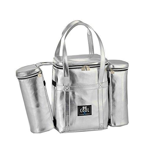 Grande borsa termica Be Cool City con due dispositivi di raffreddamento rimovibili per bottiglie 25x14x34 cm più 2 tasche per bottiglie da 1 litro con manici