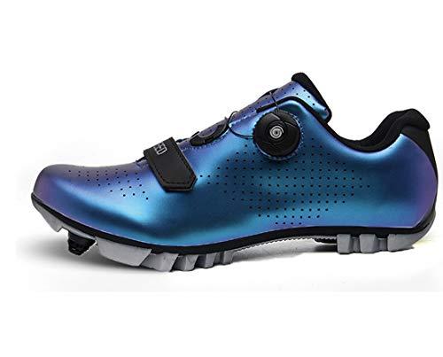 Cool-CZQ Erwachsene Mountainbike Schuhe Stoßdämpfung Fahrrad Herren Fahrradschuhe Bequem Und Atmungsaktiv (36,Blau B)