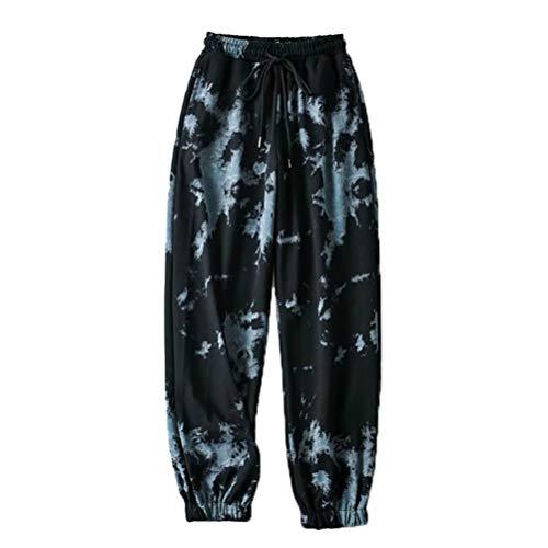 Damen Tie Dye Druck Jogginghose mit Taschen, Morbuy Gradient Bunt Haremshose Baggy Sporthosen Hohe Taille Sporthose Leggings Casual Hosen Workout Sweatpants (Schwarz Blau,L)