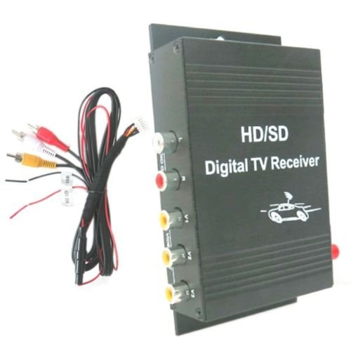 Car TV ATSC Tuner Receiver Box Digital 4 Video Output for United States-black