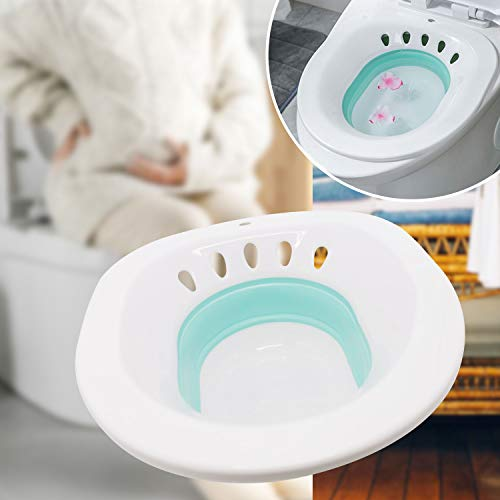 Sitz Bath, Folding Squat Free Sitz Bath for Hemorrhoids, Sitz Bath Postpartum Care and Perineum Treatment, Cleanse Vagina/Anal Inflammation, Relieve Inflammation and Swelling of Vagina or Anus