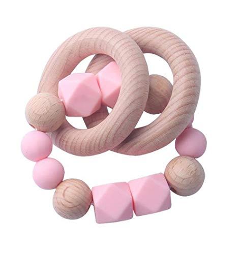 Hpybest Siliconen Teether Baby Teething Ring Voedselkwaliteit Siliconen Kralen maken Ketting Baby Goederen BPA Gratis Teether roze