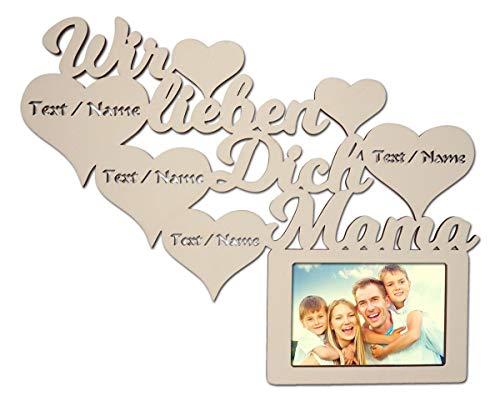 Mutter Geschenkideen Danke das es Dich gibt Geschenk zum Muttertag Geburtstag Beste Mama Geschenke personalisiert mit Namen Gravur Bilderrahmen 10 x 15 cm (Wir lieben Dich Mama)