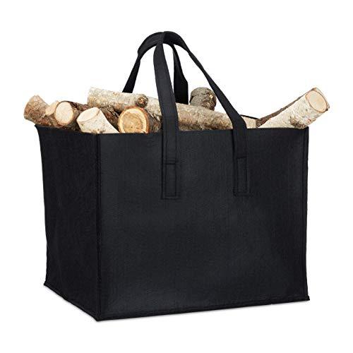 Relaxdays Support bûches en feutre, 2 poignées, pliable, journaux, feutre, noir, panier bois de cheminée 43 x 36,5 x 34,5 cm