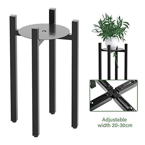 UBRAVOO Pflanzenständer, Schwarzes Metall Erweiterbarer Pflanzenhalter, Verstellbarer moderner Pflanzenständer Innen für mittlere und große Töpfe