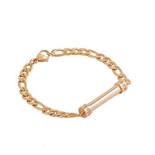 Urn armband voor de Ashes, RVS Crystal Bar Memorial Bangle Assieraden Hold Ashes,Gold