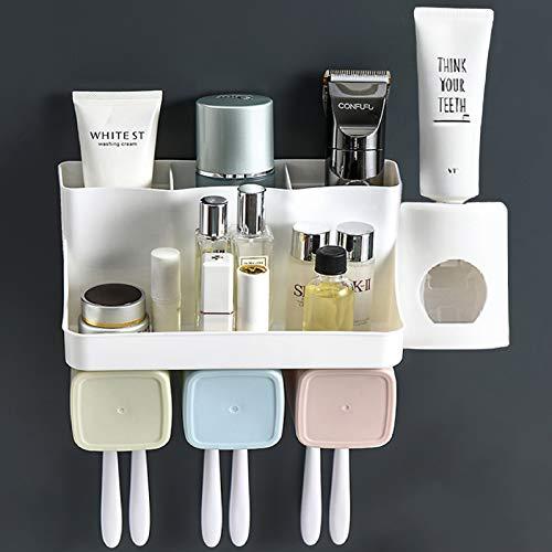 Spremi-dentifricio automatico,porta-spazzolino da denti a parete,organizzatore per il bagno con 3 tazze,6 fessure per spazzola,porta trucco da bagno rack di stoccaggio
