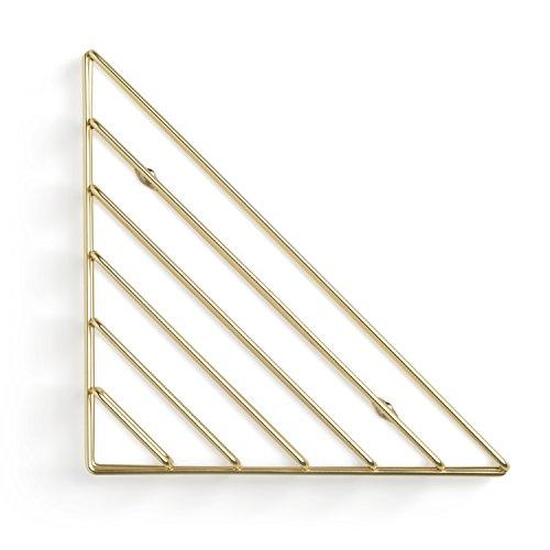 Umbra Strum Wand Zeitschriftenhalter im Geometrischen Design – Modernes Wandboard für Bücher, Magazine, Zeitungen und Mehr – Anbringung in 3 unterschiedlichen Ausrichtungen Möglich, Metall / Messing