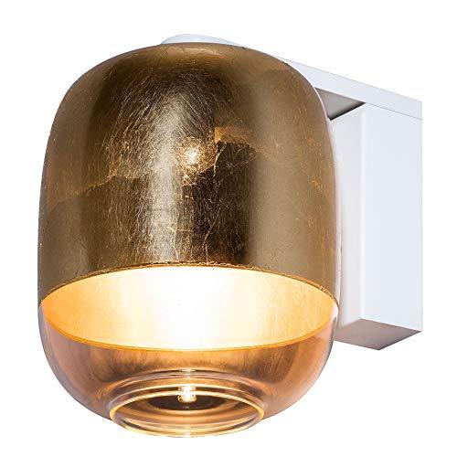 Gong W1 LED Wandleuchte, gold weiß Schirm Glas Struktur Metall weiß 3000K 720lm
