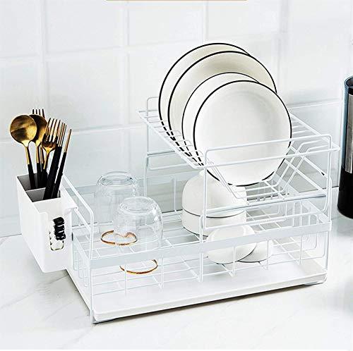 Escurridor de Platos, Objetivo del Organizador de la encimera de 2 nivelesKitchen Soporte de Almacenamiento de encimera de baño para despensa de cocinar condimentos Gabinete de Cocina, Blanco (Color