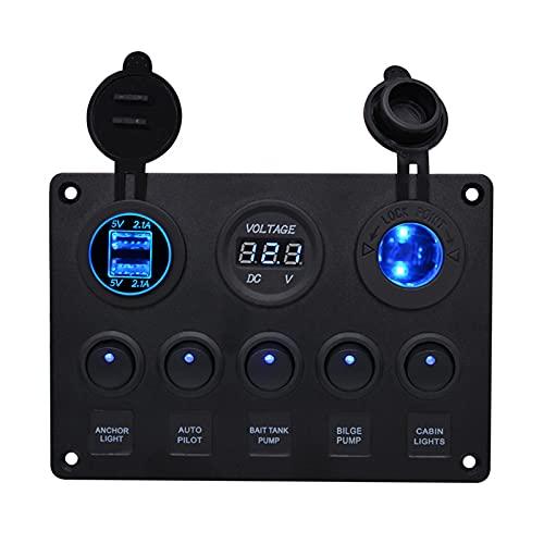 Chahu Panel de interruptor basculante impermeable Yate Car Combinación Interruptor con 5 interruptores y 2 puertos USB pantalla de voltaje para barco
