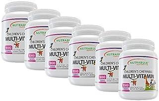 NutraBulk Children's Chewable Multi-Vitamin Tablets for Immune, Bone, and Brain Support - 6000 Count (6 Bottles of 1000)
