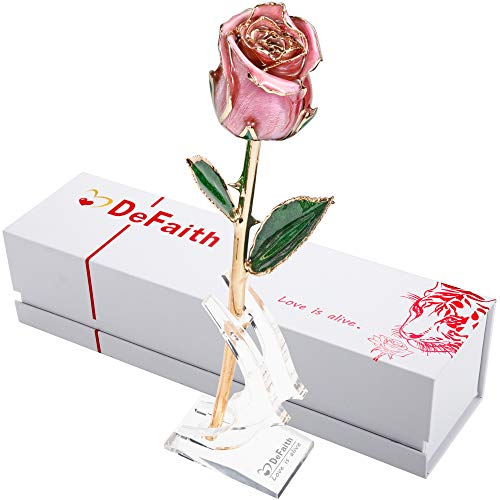 DEFAITH Real Rose 24K Gold Dipped, Forever Gifts for Wife Girlfriend Fiancee Her Valentines Day Anniversary Wedding and Marriage Proposal, Attractive Luster and Natural Shape with Crescent Stand