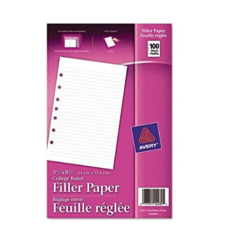 Avery Mini Binder Filler Paper, 5-1/2 x 8-1/2, 7-Hole Punch, College Rule, 100 Sheets, Pack of 6