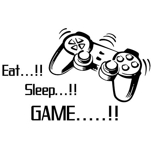 Home Find Game Wall Decals Eat Sleep Game Quote Wall Stickers Gamers World for Net Bar Living Rooms Bedroom Removable Kids and Boys Rooms Decoration 33.7 inches x 21 inches