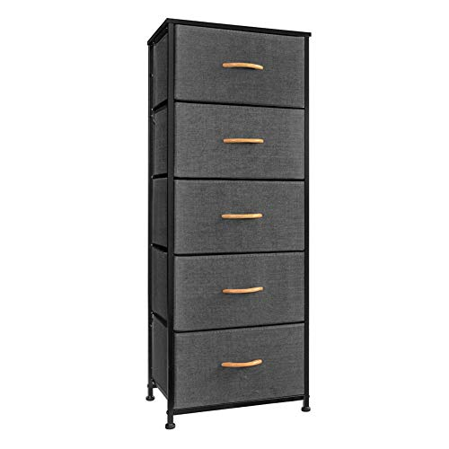 Crestlive Products Vertical Dresser Storage Tower - Sturdy Steel Frame, Wood Top, Easy Pull Fabric Bins, Wood Handles - Organizer Unit for Bedroom, Hallway, Entryway, Closets - 5 Drawers (Gray)