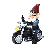 Resin Biker Garden GNOME, Middle Finger Motorcycle GNOME Figurines, Funny Naughty Dwarf Outdoor Decoration for Porch Yard Art Lawn Ornaments Gartendeko Statue