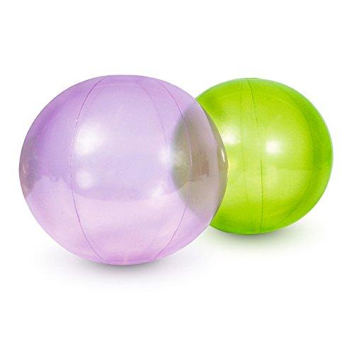 Sport-Thieme Zeitlupenbälle Set | 1x Zeitlupenball in Lila, 1x Hellgrün | Übungsbälle u. Gymnastikbälle mit Zeitlupeneffekt | ø 25 cm (18 g) o. ø 40 cm (38 g) | Aus robustem, transparenten PU, ø 25 cm