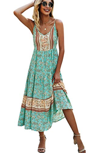 Angashion Women's Dresses Floral Adjustable Spaghetti Strap V Neck Boho Long Maxi Dress Summer Beach Flowy Ethnic…