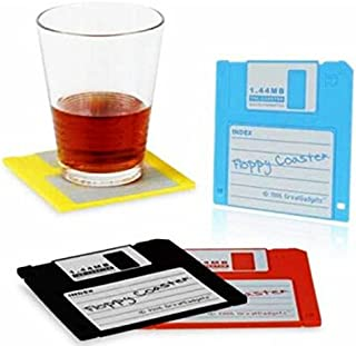 king's store,The colored floppy cup pad is perfect computer lovers Retro soft magnetic disc silicone cup single slice, 1.44 meter floppy disk design, no sliding(4pcs)