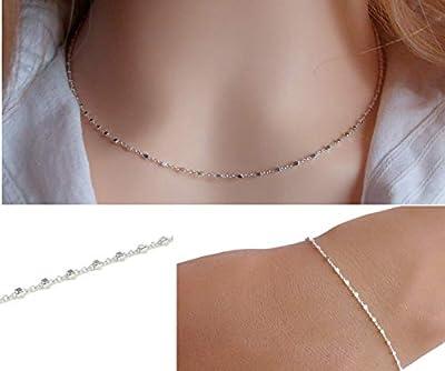 Parure collier bracelet femme - Chaine petites perles carrées - Argent - Collier ras de cou - Bracele fin - Cadeau pour elle
