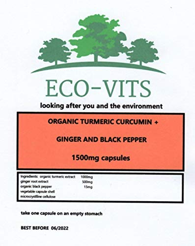 ECO-VITS Turmeric Ginger & Black Pepper (1500MG) 30 CAPS. Biodegradable Packaging. Sealed Pouch