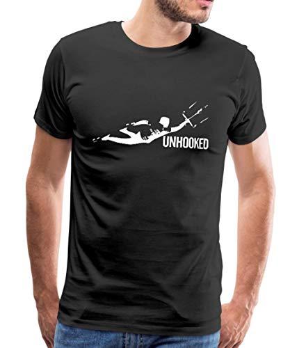 Kitesurfing Unhooked Lenkdrachensegeln Kiteboarding Männer Premium T-Shirt, L, Schwarz