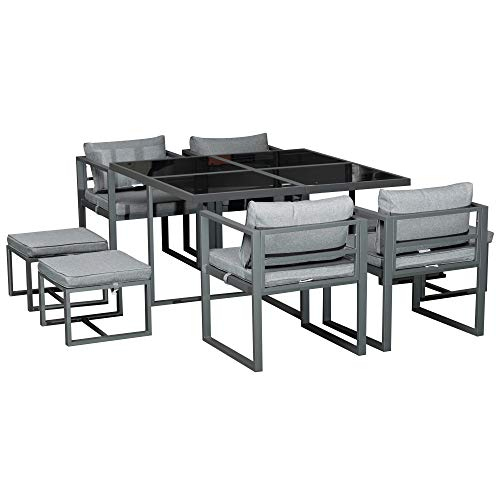 Outsunny 9PCs Patio Aluminium Dining Set 4 Chairs 4 Ottoman with Cushions 8 Seater Garden Furniture