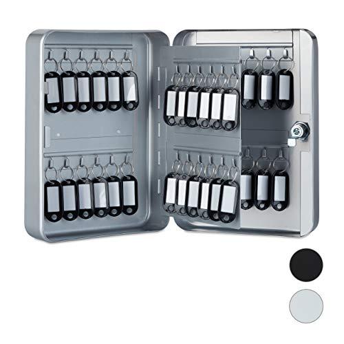 Relaxdays Schlüsselkasten Metall, abschließbar, 48 Haken, Schlüsselschrank inkl. Schlüsselanhänger, 25x18x7,5cm, grau, Schlüssel