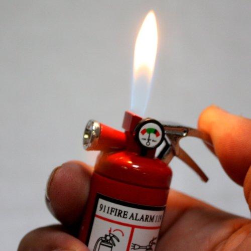 1x Mini Fire Extinguisher Metal Refillable Cigar Cigarette Lighter w/ White Light