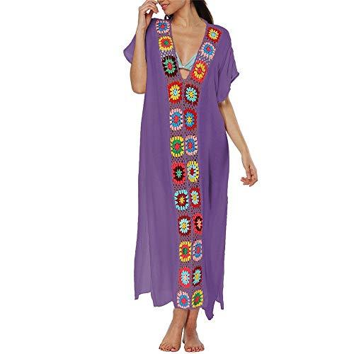 Cubierta de playa Trajes de baño para mujer Vestido de cubrir Bordado Crochet Encubrir Verano Ropa de playa Bikini Traje de baño de flores Playa suelta Vestido maxi Ropa de dormir Vestido de noche Bik