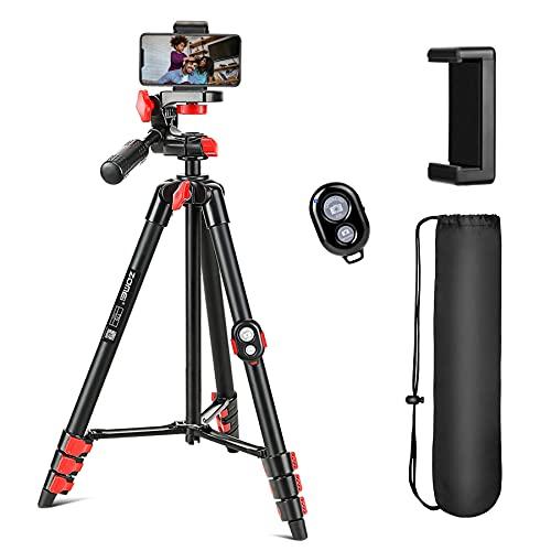 Treppiede per telefono, treppiede estensibile per fotocamera da 54 pollici con telecomando Bluetooth 5.0 e supporto per telefono girevole a 360 °, borsa per il trasporto, leggero