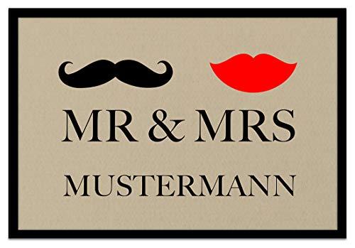 Loose Werbetechnik Fußmatte 'Mr. & Mrs. ' Inkl. Ihrem Nachnamen - Personalisierte Schmutzfangmatte, Fußmatte:50 x 70 cm