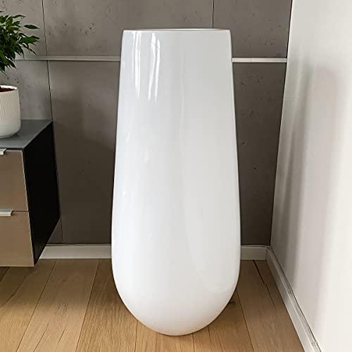 Jarrón de suelo grande, macetero XXL, jarrón grande, color blanco, 93 cm, fibra de vidrio, para...