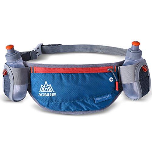 AONIJIE Männer/Frauen Sport Trinkgürtel mit 2 Stücke Trinkflaschen Hüfttasche Geeignet für Einstellbarer und stabil Taille Pack für Joggen, Wanderung (Dunkelgrün)