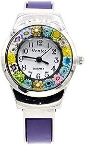 Reloj de Mujer Murrina Veneziana de Acero, Correa de Muelle, Reloj de Cristal de Murano Murrina Violeta