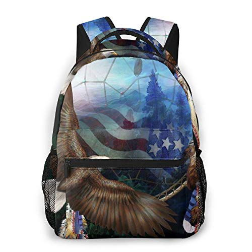 Unisex Backpack Usa Flags Bald Eagle Dream Catcher 3d All-Over Print Lightweight School Bag For Men