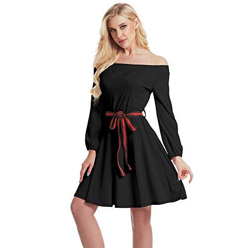 Vestido de cóctel Vestido de Noche de Fiesta Country Rock Party Swing de Manga Larga for Mujer (Color : Negro, Size : L)