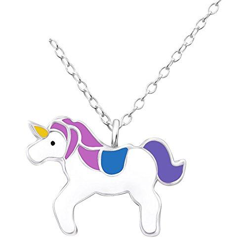 Laimons Kids Colgante con collar para niña Unicornio colorido Plata de ley 925